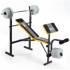 Everlast Olympic Weight Bench Everlast Ev115 Starter Bench And Weights Grey Yellow Amazon Co