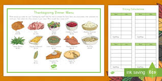 thanksgiving dinner menu calculations activity money