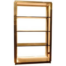 Room Divider Cabinet Dual Sided Glass And Metal Enclosed Display Vitrine étagère
