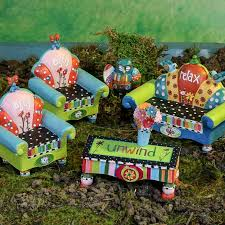 mini quirky garden furniture set fairy garden miniatures