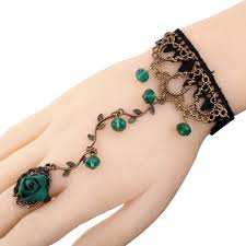ring with chain bracelet images Gothic lolita black green crystal lace ring chain rose hand JPG