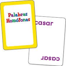palabras homo fonas spanish homophone cards