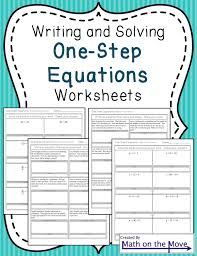 one step equations worksheets including word problems