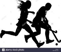 black on white silhouette of girls ladies hockey players battling