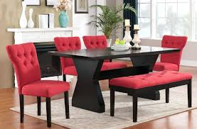 red leather dining table chairs dark room set and 6 glass with