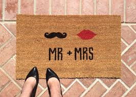 mr u0026 mrs welcome mat hand painted custom doormat wedding
