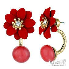 sided stud earrings lumini lotus maroon flower sided stud earrings