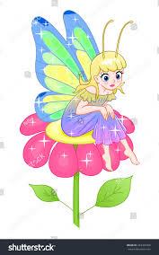 cute cartoon fairy butterfly wings sitting stock vector 453424450