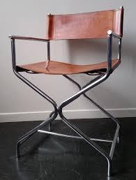 chaise de realisateur chaise type metteur en scene vintage 70 u0027s chrome et cuir fauve