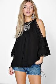 open shoulder blouse crochet trim high neck open shoulder blouse dusters and sporty