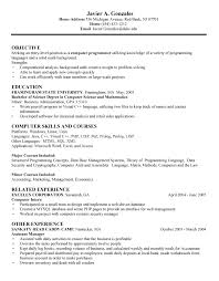 A Resume Example In The by Computer Science Resumes Undergraduate Computer Science Resume