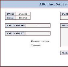 Sales Call Report Template Excel by Sales Call Log