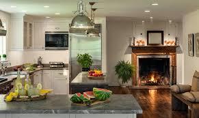 design modern stylish ractengle kitchen island with fireplace