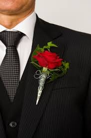 Mens Boutineer Red Rose Boutonnieres A Red Rose And Some Ivy Leaves Make This An