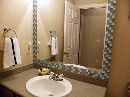 great mosaic tile framed bathroom mirror on home designing