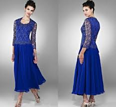 royal blue lace chiffon mother u0027s dresses with 3 4 long sleeve crew