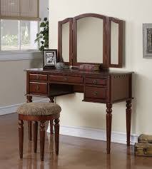Folding Vanity Table Tri Folding Mirror White Wood Vanity Set Make Up Table