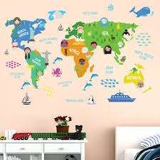 childrens bedroom stickers educational nursery world map wall stickers art kitchen