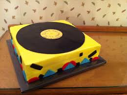 50s music theme birthday suitcase record player with record