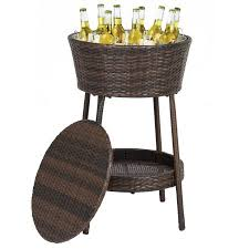 patio beverage cooler cart best choice products wicker for outdoor patio w tray