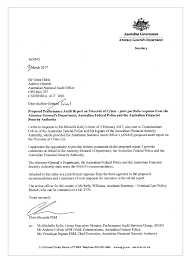 Authority Letter For Legal Representation by Proceeds Of Crime Australian National Audit Office