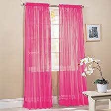 amazon com 2 piece solid pink sheer window curtains drape