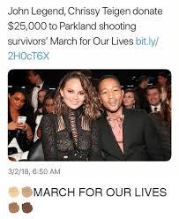 John Legend Meme - john legend chrissy teigen donate 25000 to parkland shooting