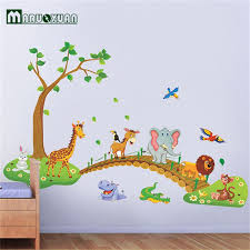 stickers chambre enfants grand jungle animaux pont vinyle stickers muraux enfants chambre
