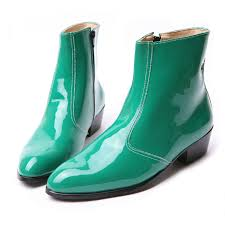 zipper boots s s synthetic leather glossy green side zip high heel ankle