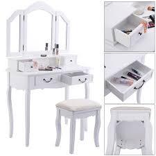 Mirrored Vanity With Drawers Tri Folding Mirror White Wood Vanity Set Makeup Table Dresser 4