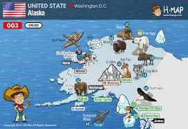 Alaska Maps by Alaska Map Illustration Travel History Unesco Animal Man