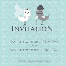 Wedding Invitation Cards Download Free Blue Cartoon Wedding Invitation Card Couple Of Birds Vector Image