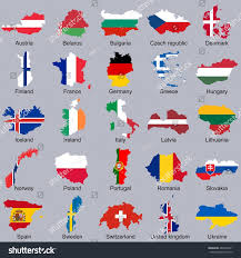 Europe Flags European Flags Map Shape Vector Flags Stock Vector 483846571