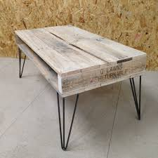 Hairpin Legs Coffee Table Furniture Reclaimed Pallet Wood Coffee Table With Black Iron