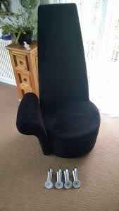 high back chair black velvet type one arm in loanhead