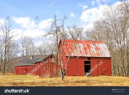 old abandoned red barn delaware water stock photo 267017066