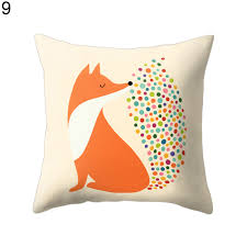 fox home decor square cartoon fox print pillow case bed waist cushion cover home