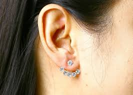 one ear earring 5 crystals ear jacket silver 925 two in one earrings hwstar