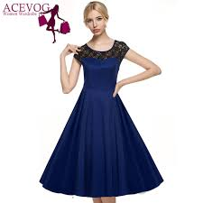Acevog Women Big Swing Dress Summer Elegant 1950s Vintage Style