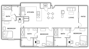 3 bed 3 bath apartment floor plans the highlands near unr
