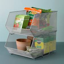 organization bins silver mesh stackable storage bins the container store