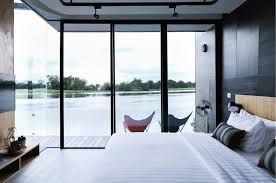 resort home design interior floating prefab homes overlook gorgeous river views in