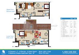 Duplex Floor Plans 3 Bedroom by Floor Plans Of Al Naseem Al Raha Beach