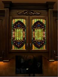 Glass Panel Kitchen Cabinet Doors by Stained Glass For Cabinet Doors
