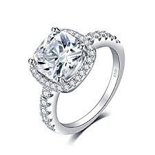 solitaire engagement ring jewelrypalace cushion 3ct cubic zirconia wedding halo