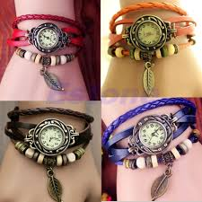 quartz bracelet wrist watches images Women new design retro leather bracelet leaf decoration quartz jpg