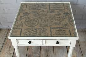 glass table top ideas burlap topped side table canary street crafts