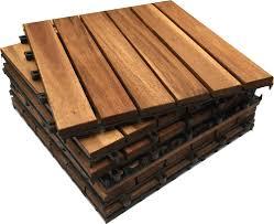 Patio Interlocking Tiles by 6x Wooden Interlocking Acacia Hardwood Decking Tiles Patio