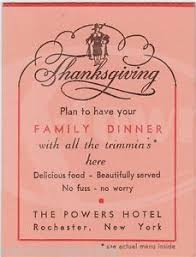 powers hotel rochester ny vintage thanksgiving dinner menu