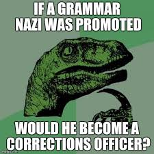 Grammer Nazi Meme - if a grammar nazi was promoted would he become a corrections officer